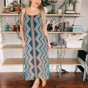 Bisou Bisou Anthro Asymmetrical Maxi Dress